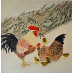 Haan Hen met kuikens - Olieverfschilderij op linnen