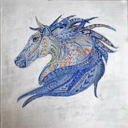 Het blauwe paard, olieverf schilderij op linnen