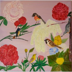 Hollandse vogels olieverfschilderij op linnen.