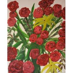 Rozen, olieverf schilderij op linnen gemaakt door kunstschilder Henraat