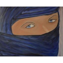 Bleu Eye, gesluierd olieverf schilderij op linnen