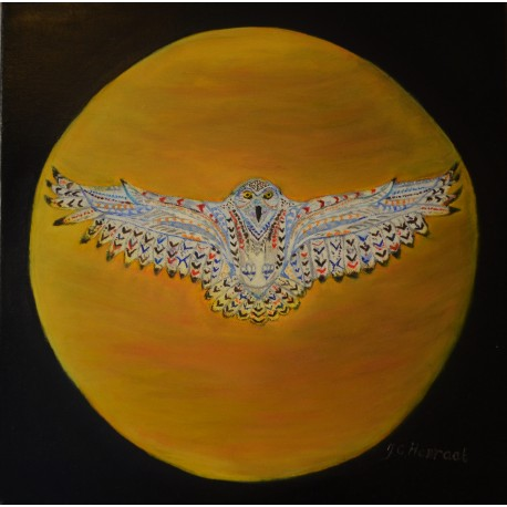 De Sneeuwuil, olieverf schilderij op linnen